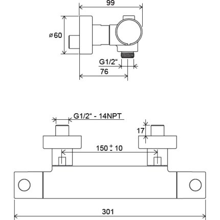 Baterie dus termostatata Ravak Puri PU 033.00/150, crom