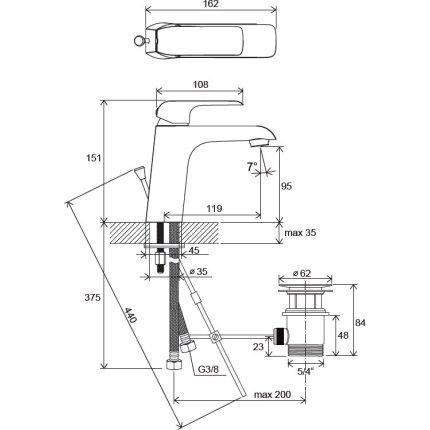 Baterie lavoar Ravak Flat 150 cu ventil pop-up