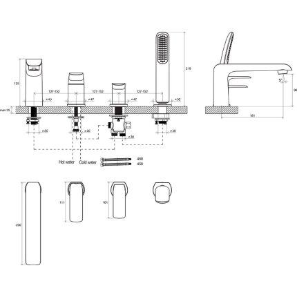 Baterie cu montaj pe cada Ravak Flat din  4 elemente