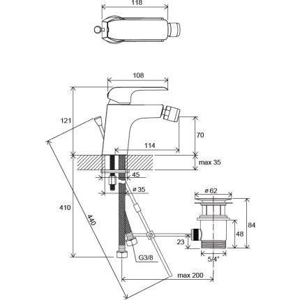 Baterie bideu Ravak Flat cu ventil pop-up