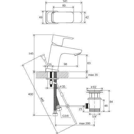 Baterie lavoar Ravak 10° Free TD F 011.00 ventil pop-up, crom