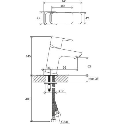 Baterie lavoar Ravak 10° Free TD F 012.00 fara ventil, crom