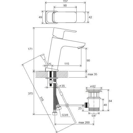 Baterie lavoar Ravak 10° Free TD F 013.00 corp inalt, ventil pop-up, crom