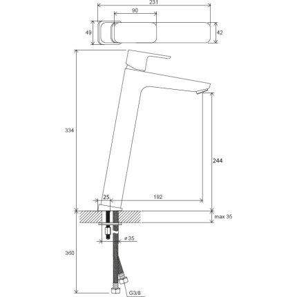 Baterie lavoar Ravak 10° Free TD F 015.00 pentru lavoare tip bol, fara ventil