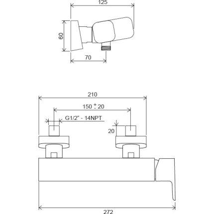 Baterie dus Ravak 10° Free TD F 032.00/150 crom