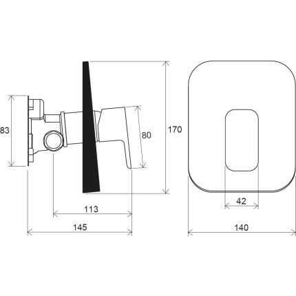 Baterie dus Ravak 10° Free TD F 066.00 cu montaj incastrat, necesita corp ingropat R-box