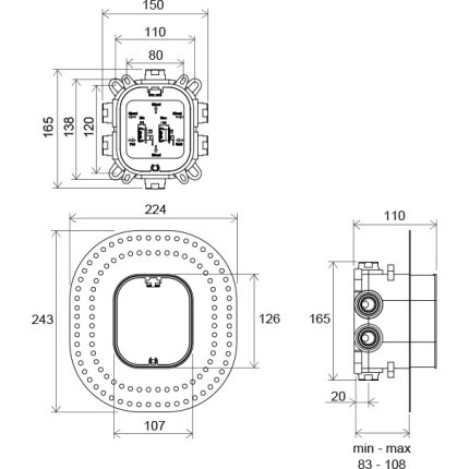 Corp incastrat Ravak R-Box Vari pentru bateriile Flat