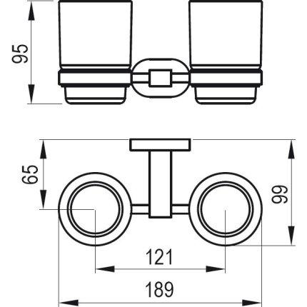 Pahar cu suport dublu Ravak Concept Chrome CR 220