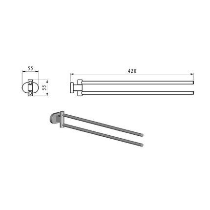 Port-prosop cu brate rotative Ravak Concept Chrome, 42cm