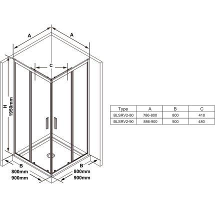 Cabina de dus patrata Ravak Blix Slim BLSRV2 80x80cm, crom lucios
