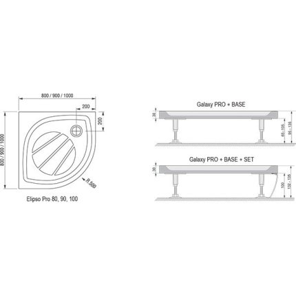 Cadita de dus semirotunda Ravak Elipso Pro 80x80cm, alb