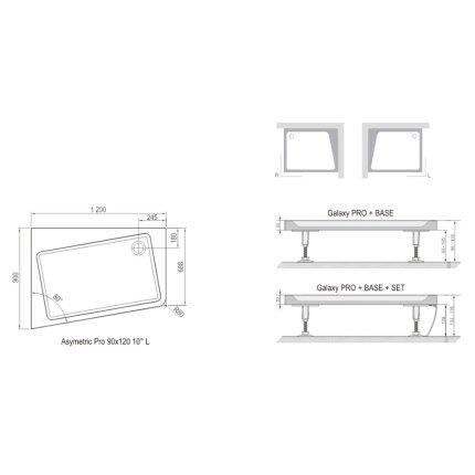 Panou frontal pentru cadita de dus asimetrica Ravak Concept 10° Asymetric Pro 120x90 dreapta, alb