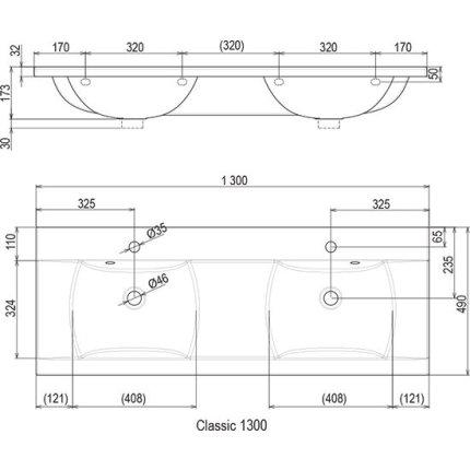 Lavoar dublu Ravak Concept Classic 1300, 130x49cm, alb
