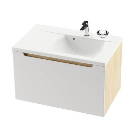 Lavoar asimetric Ravak Concept Classic 800, 80x49cm, polita stanga, alb