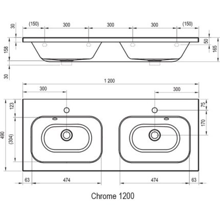Lavoar dublu Ravak Concept Chrome 120x49cm, montare pe mobilier, alb