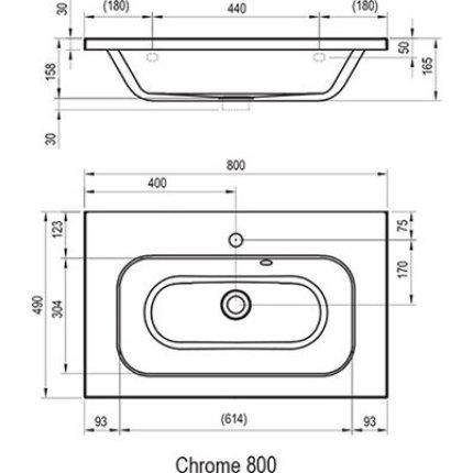 Lavoar Ravak Concept Chrome 80x49cm, montare pe mobilier, alb