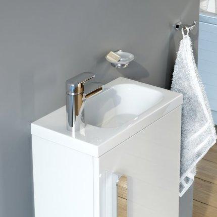Lavoar asimetric Ravak Concept Chrome 40x22cm, stanga, montare pe mobilier, alb