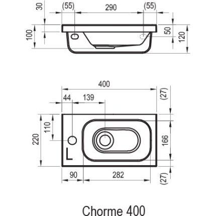 Lavoar asimetric Ravak Concept Chrome 40x22cm, dreapta, montare pe mobilier, alb