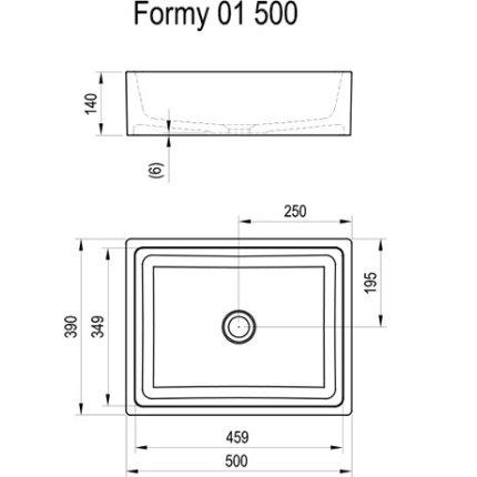 Lavoar tip bol Ravak Formy 01 500D, 50x39x14cm, fara orificiu baterie, fara preaplin, alb