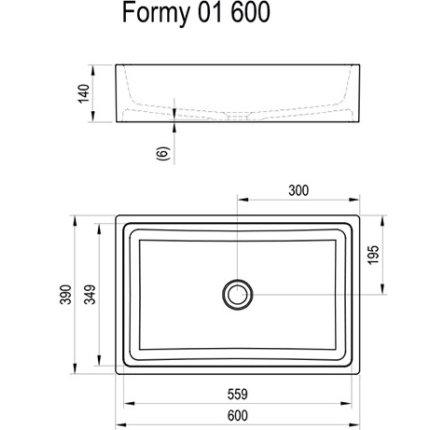 Lavoar tip bol Ravak Formy 01 600D, 60x39x14cm, fara orificiu baterie, fara preaplin, alb