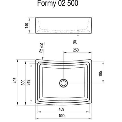 Lavoar tip bol Ravak Formy 02 500D, 50x41x14cm, fara orificiu baterie, fara preaplin, alb