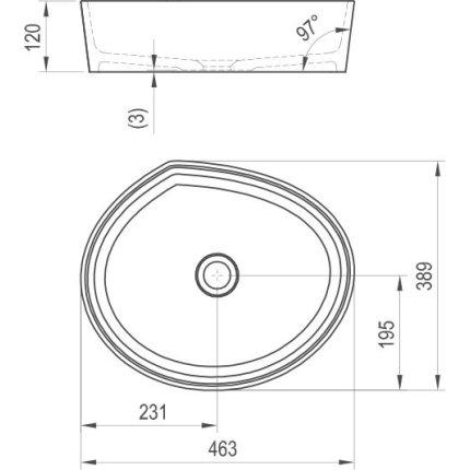 Lavoar tip bol Ravak Moon 3 46x38.9cm, h12cm, fara orificiu baterie, fara preaplin, alb
