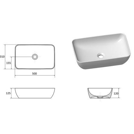 Lavoar tip bol Ravak Uni 500 R Slim, 50x31x12.5cm, alb
