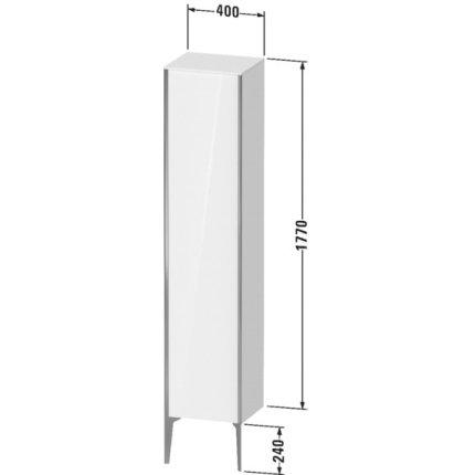 Dulap suspendat Duravit XViu 177x40cm negru lucios si cadru negru mat cu o usa deschidere stanga