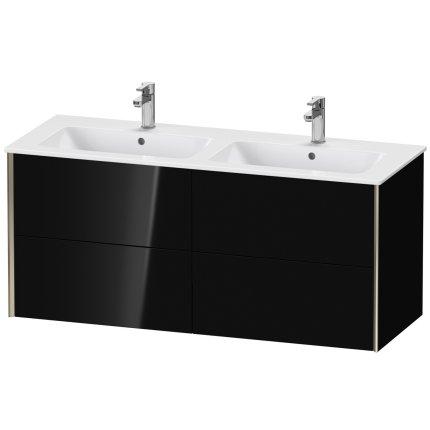 Dulap baza Duravit XViu 128x48cm, patru sertare cu tehnologie Tip-On, negru lucios cu margini champagne mat