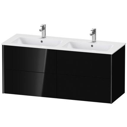 Dulap baza Duravit XViu 128x48cm, patru sertare cu tehnologie Tip-On, negru lucios cu margini negru mat