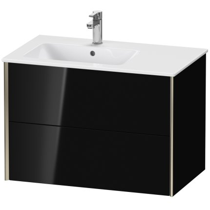 Dulap baza Duravit XViu 81x48cm, doua sertare cu tehnologie Tip-On, negru lucios cu margini champagne mat, orientare stanga