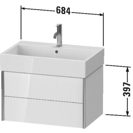 Dulap baza suspendat Duravit XViu 684x454mm, cu doua sertare, pin argintiu