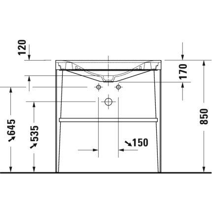 Set mobilier Duravit XViu cu lavoar 80cm fara orificiu baterie, consola metalica negru mat si raft de sticla negru lucios