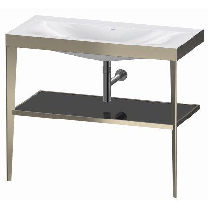 Set mobilier Duravit XViu cu lavoar 100cm fara orificiu baterie, consola metalica champagne mat si raft de sticla negru lucios