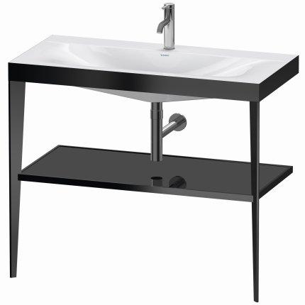 Set mobilier Duravit XViu cu lavoar 100cm, consola metalica negru mat si raft de sticla negru lucios