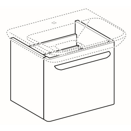 Dulap baza Geberit myDay 49.5cm cu un sertar, alb lucios