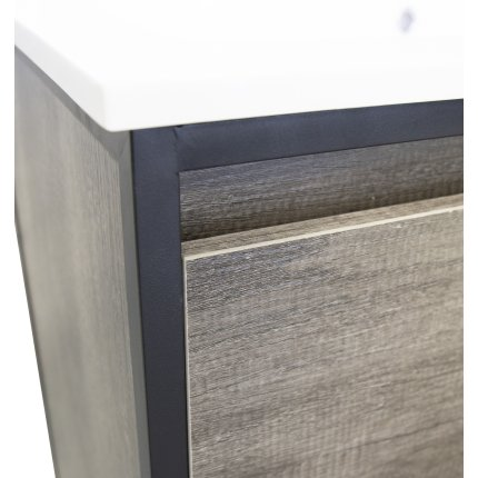 Dulap baza cu cadru metalic Sanotechnik Soho 90x80x46cm, finisaj stejar industry