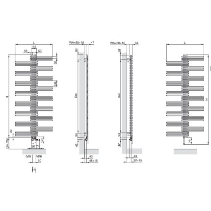 Radiator Zehnder portprosop Yucca 1300x500 mm cromat, functionare electrica
