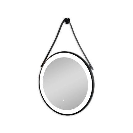 Oglinda rotunda cu agatatoare Sanotechnik Soho 60cm cu iluminare LED, rama negru mat