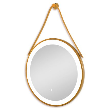 Oglinda rotunda cu agatatoare Sanotechnik Soho 60cm cu iluminare LED, rama aurie