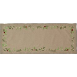 Textile decorative de masa Napron Sander Embroidery X-Mas Leaves 20x80cm, 70 Atmosphere
