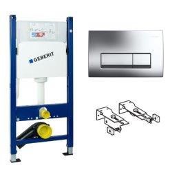 Rezervoare WC Set rezervor incastrat Geberit Delta cu cadru metalic, sistem de prindere si clapeta crom