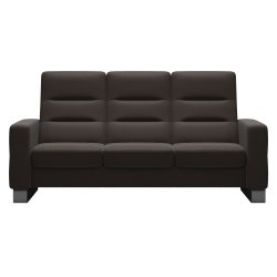 Canapele Canapea cu 3 locuri Stressless Wave M cu spatar inalt, picioare inox, tapiterie piele Paloma Chestnut