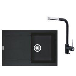 Chiuvete bucatarie Set Franke Nero: Chiuveta fragranite Maris MRG 611, 780x500mm + Baterie bucatarie Sirius cu dus extractibil