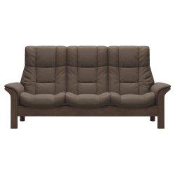 Canapele & Fotolii Canapea cu 3 locuri Stressless Windsor M cu spatar inalt, cadru Walnut, tapiterie piele Batik Mole