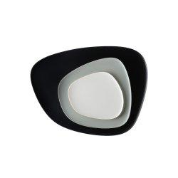 Set 3 platouri Kartell Namaste design Jean-Marie Massaud, negru-gri-alb
