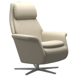 Fotolii & Sezlonguri Fotoliu recliner Stressless Sam, baza  Sirius, Power Heating Massage, picioare aluminiu mat, tapiterie piele Batik Cream