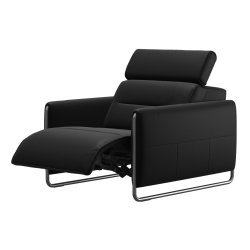 Canapele & Fotolii Fotoliu recliner Stressless Emily Arm Steel, brate crom, tapiterie piele Batik Black