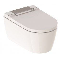 Obiecte sanitare Set vas WC suspendat Geberit AquaClean Sela, capac inchidere/deschidere lenta si functie bideu electric, finisaj Crom