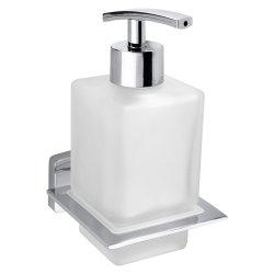 Dispenser sapun lichid Bemeta Niki, montaj pe perete, crom/sticla satinata